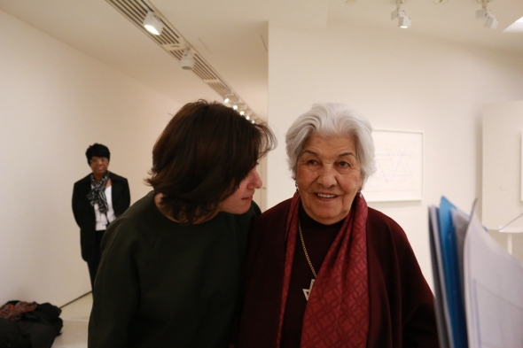 Monir Shahroudy Farmanfarmaian and Susan Cotter, Curater of the exhibition